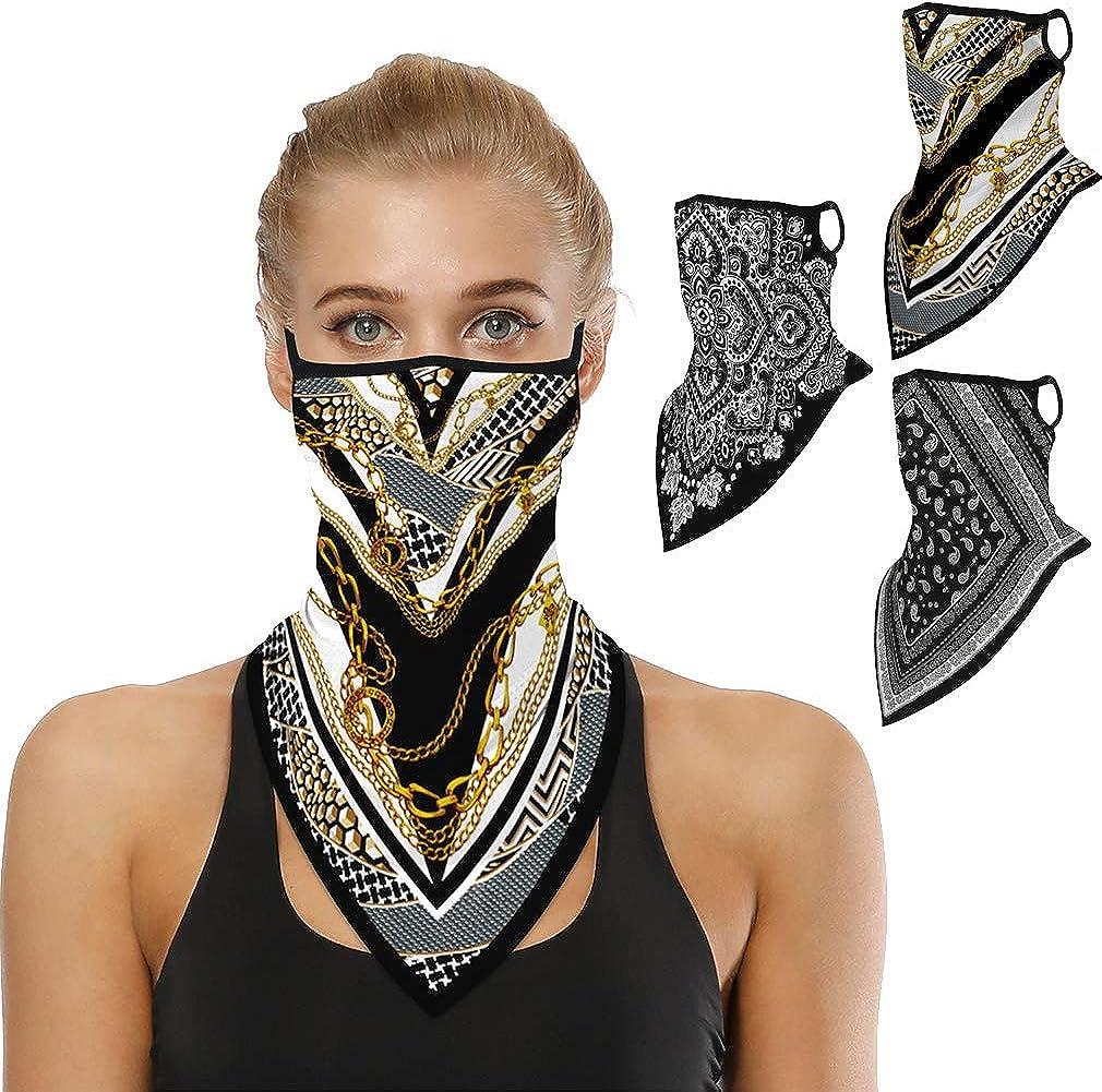 REEMONDE 3PCS Balaclava Bandana Earloops Triangle Face Bandanas for Men Breathable Neck Gaiters for Outdoor Sports