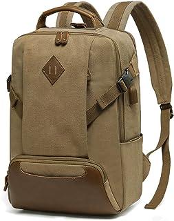 Vintage Canvas Backpack for Men,Kasqo Water-resistant School Backpack with USB Port