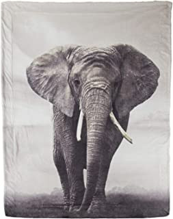 Bedsure Elephant Sherpa Twin Blanket Animal Bedding Blanket 60 x 80 inches Reversible Twin Size Fuzzy Blanket for Outdoor Camping