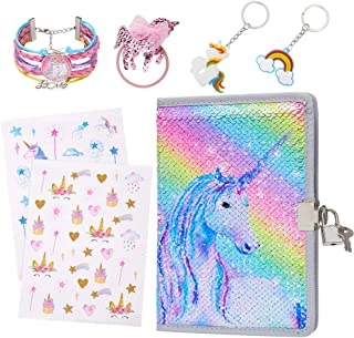 Play Tailor Girls Diary Notebook with Lock and Key Unicorn Gifts Set with Hair Tie/Stickers/Keychains/Bracelet, Rainbow Un...