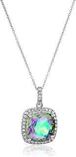 """Sterling Silver Cushion Swarovski Paradise Shine Crystal and Clear Crystal Pendant Necklace, 18"""""""