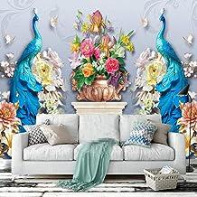 SUNNYBZ Mural De Papel Tapiz Fotográfico 3D Flor Pavo Real Planta Animal 250X175 Cm Papel Tapiz 3D Decoración Del Hogar Pa...