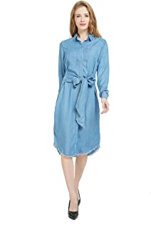 Tronjori Womens Distressed Long Sleeve V Neck Button Down Denim Shirt Dress with Belt