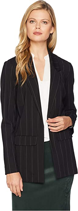 Boyfriend Blazer Wide Strip in Ponte Knit