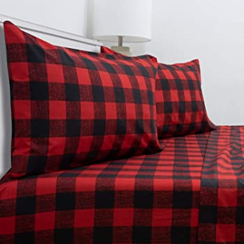 Amazon Com Amazon Brand Stone Beam Rustic Buffalo Check Flannel Bed Sheet Set King Red And Black Home Kitchen