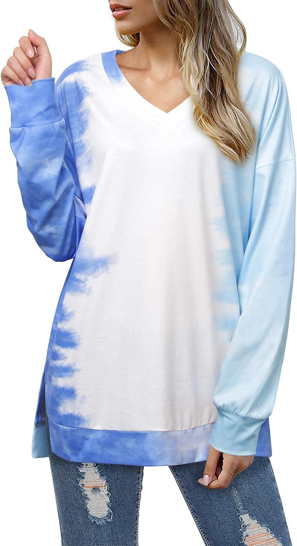Womens Lightweight Tie Dye Printed Tunics Long Sleeve Side Split Pullover Shirts Tops