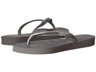 Havaianas Kids Slim Flip Flops (Toddler/Little Kid/Big Kid) (Steel Grey) Girls Shoes