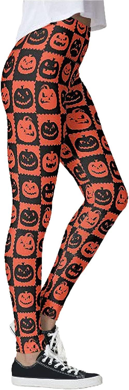 Women's Pumpkins Skull Printed Halloween Leggings High Waist Yoga Stretchy Workout Leggings for Women