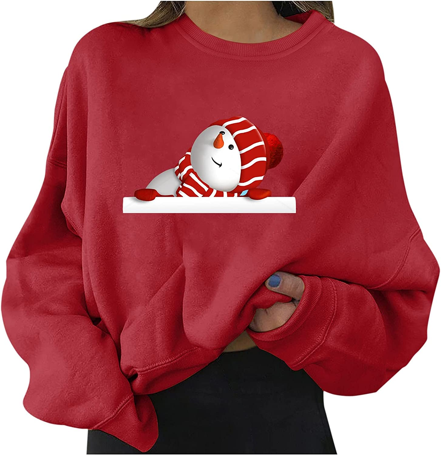 Whyeasy Womens Christmas Lightweight Oversized Sweatshirts Crewneck Pullover Casual Xmas Long Sleeve Tops Loose Fit