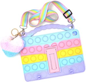 Pop Rainbow Push Pop Bubble Silicone Cute Case Compatible with iPad Mini 1/2/3, Anti-Stress Shockproof Case with Lanyard&Kickstand&Pendent&Pencil Holder
