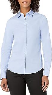 Lark & Ro Camisa de Popelina elástica Ajustada para Mujer