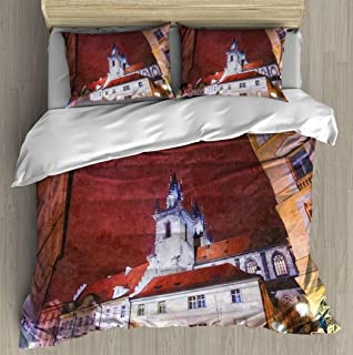 Soft Printed Bedding Set Oil painting illustration Street view to the church of Our Lady Tyn Duvet Cover Pillow Case Patte...