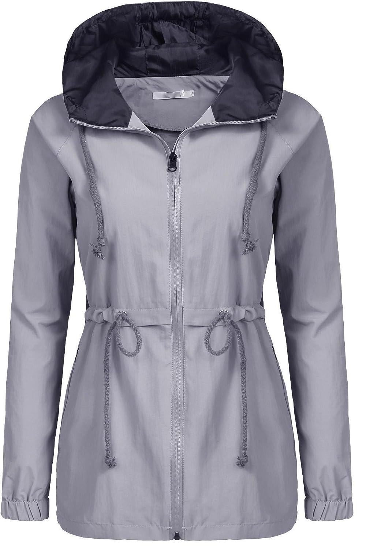 Bifast Women's Waterproof FrontZip Lightweight Hoodie Hiking Outdoor Raincoat Jacket with Pocket SXXL