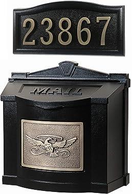 Gaines - Eagle Wallmount Series Custom Mailbox Set (Black/Antique Bronze)