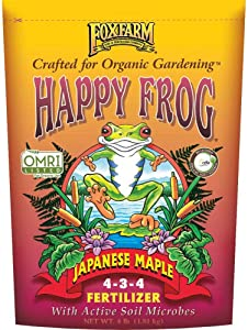 FoxFarm Happy Frog Japanese Maple Plant Food Tree Fertilizer Mix for Lilies, Evergreens, Hydrangeas, Junipers, Dogwoods, and More, 4 Pound Bag