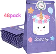 Zooawa [48 PACK] Cartoon Party Favor Bags - Happy Birthday Craft Paper Gift Bags, Goodie Candy Treat Bags with For You Stickers for Birthday Party Baby Shower Tea Party Décor - Purple