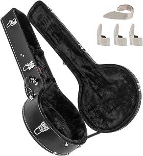 AKLOT Banjo Gig Bag Black Hard Shell Banjos Case Handbag for 5 -String 6-Strings Banjo with 4 Metal Finger Picks