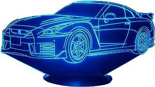 NISSAN GTR R35 (bis), Lampada illusione 3D con LED - 7 colori.