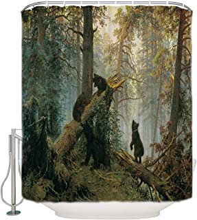 Vandarllin Black Bears in Pine Forest Fabric Shower Curtain Bathroom Decor Sets with Hooks, Stall 36 X 72 Inch