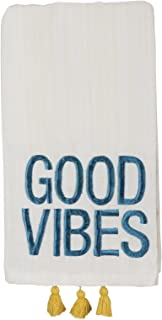 Primitives by Kathy Embroidered Good Vibes Kitchen Dish Towel, Premium 100% Cotton Dishtowel with Yellow Tassel Accents, Large 20