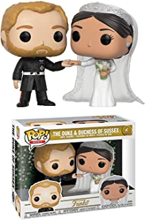 Funko The Duke and Duchess of Sussex: x POP! Royals Vinyl Figure + 1 Royal Family Themed Trading Card Bundle [35720]