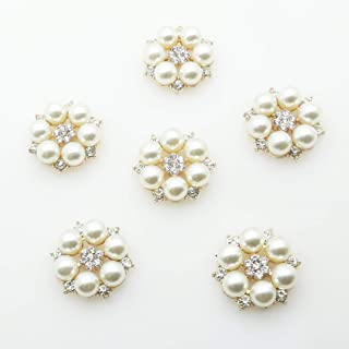 30pcs 28mmx26mm Gold Round Pearl Embellishment Rhinestone Pearl Button Flatback DIY Accessories Christmas Buttons (Gold)
