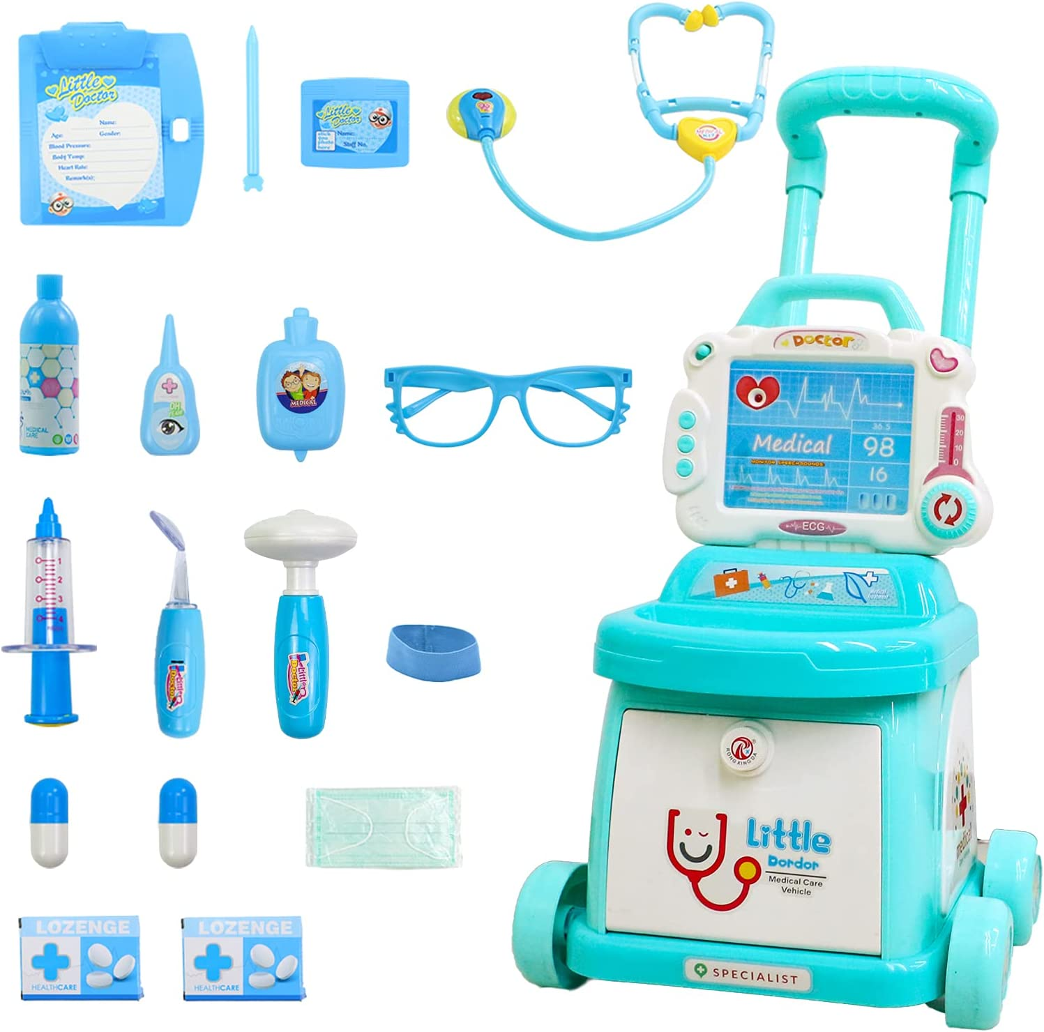 Toddlers Doctor Cart sale Kit for Realistic Light Playset Kids Super beauty product restock quality top