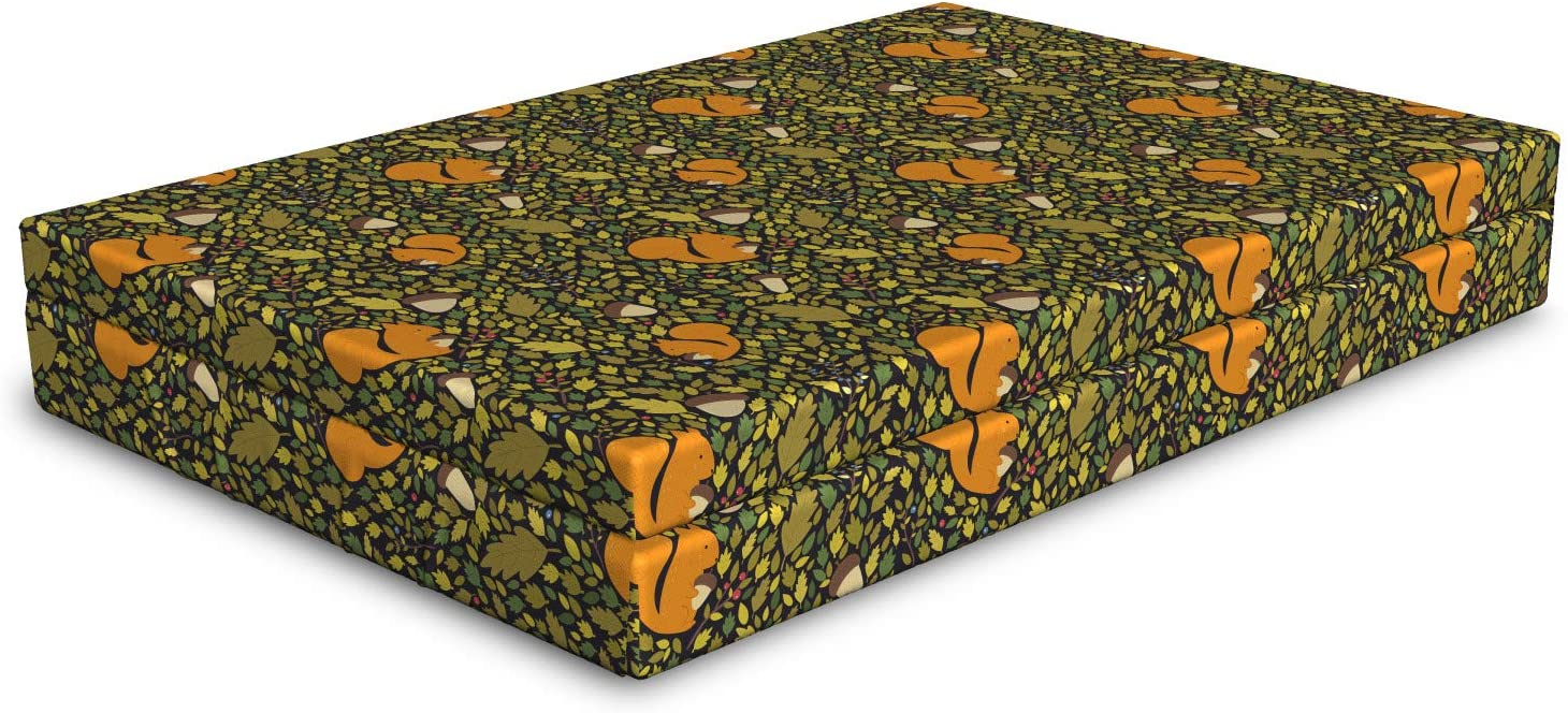 Ambesonne Easy-to-use Acorn Dog Bed Fallen Leaves Max 76% OFF Autumn Squirrels Concept