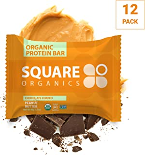 Square Organics Organic Chocolate Coated Protein Bar, Peanut Butter (12 Count) 1.7 Oz., Gluten-Free Soy-Free Dairy-free Vegan
