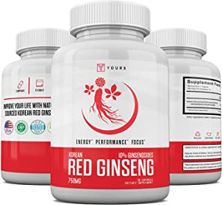 Authentic Korean Red Panax Ginseng - 10% Ginsenosides - Organic 750mg Korean Red Ginseng - 30 Day Supply - Potent Red Gins...