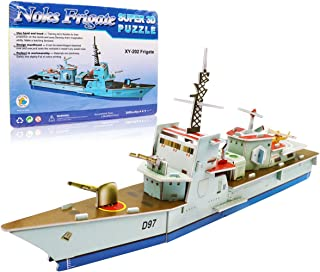 3D Ship Puzzles - Paper Battleship Puzzles 35 Pieces Warship Jigsaw Puzzles Military Frigate Model Kit Gift for Kids Boy Birthday, New Year and Christmas, for Ages 5+