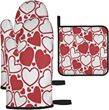 N\ A Potholders and Oven Mitts Set of 3 Valentine Love Heart 2 Oven Mitts 1 Pot Holders for Kitchen Heat Resistant Hot Pad...