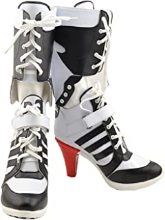 Womens Cosplay Halloween White PU Pleather Shoes High Heel Boots