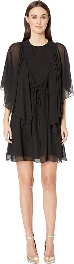 Textured Georgette Flutter Sleeve Dress