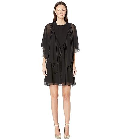See by Chloe Textured Georgette Flutter Sleeve Dress (Black) Women