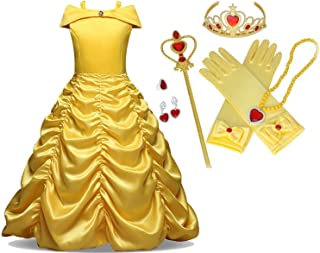 Beauty and The Beast Gown Princess Belle Costume Halloween Party Cosplay Girls 7 PC Dress Up Set