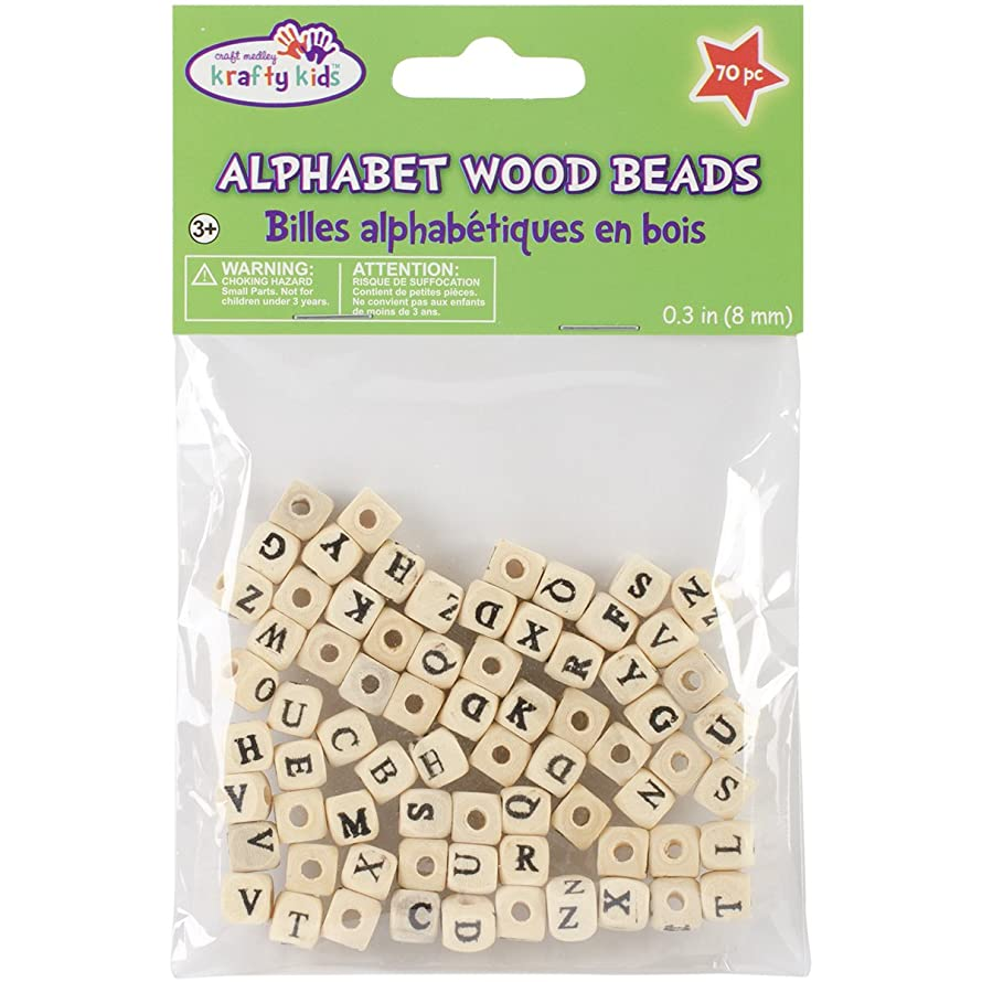 Multicraft Imports Wood Alphabet Beads, 8mm, Natural, 70 Per Package