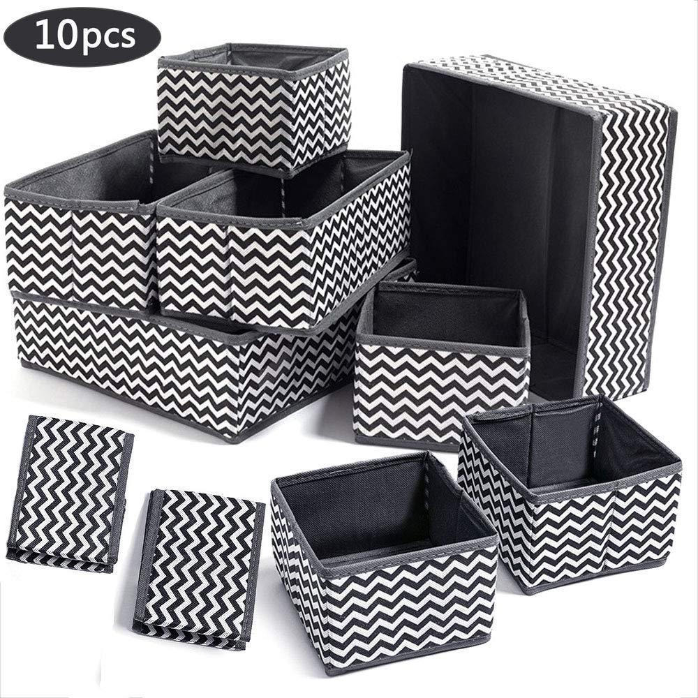 Evance 10 Cajas Organizador de cajones Tela organizadores Almacenamiento Plegable para Sujetadores Bragas Calcetines Gris (10 PCS): Amazon.es: Hogar