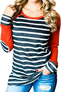 ANDYICEE Women's Casual Long Sleeve Baseball Tee Striped Tunic T Shirt Tops Blouse