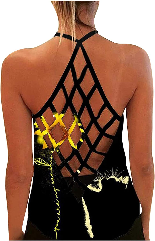 felwors Summer Tops for Women, Womens Summer Tank Tops Sexy Criss Cross Sleeveless Tops Casual Loose Tee Shirts Tunics