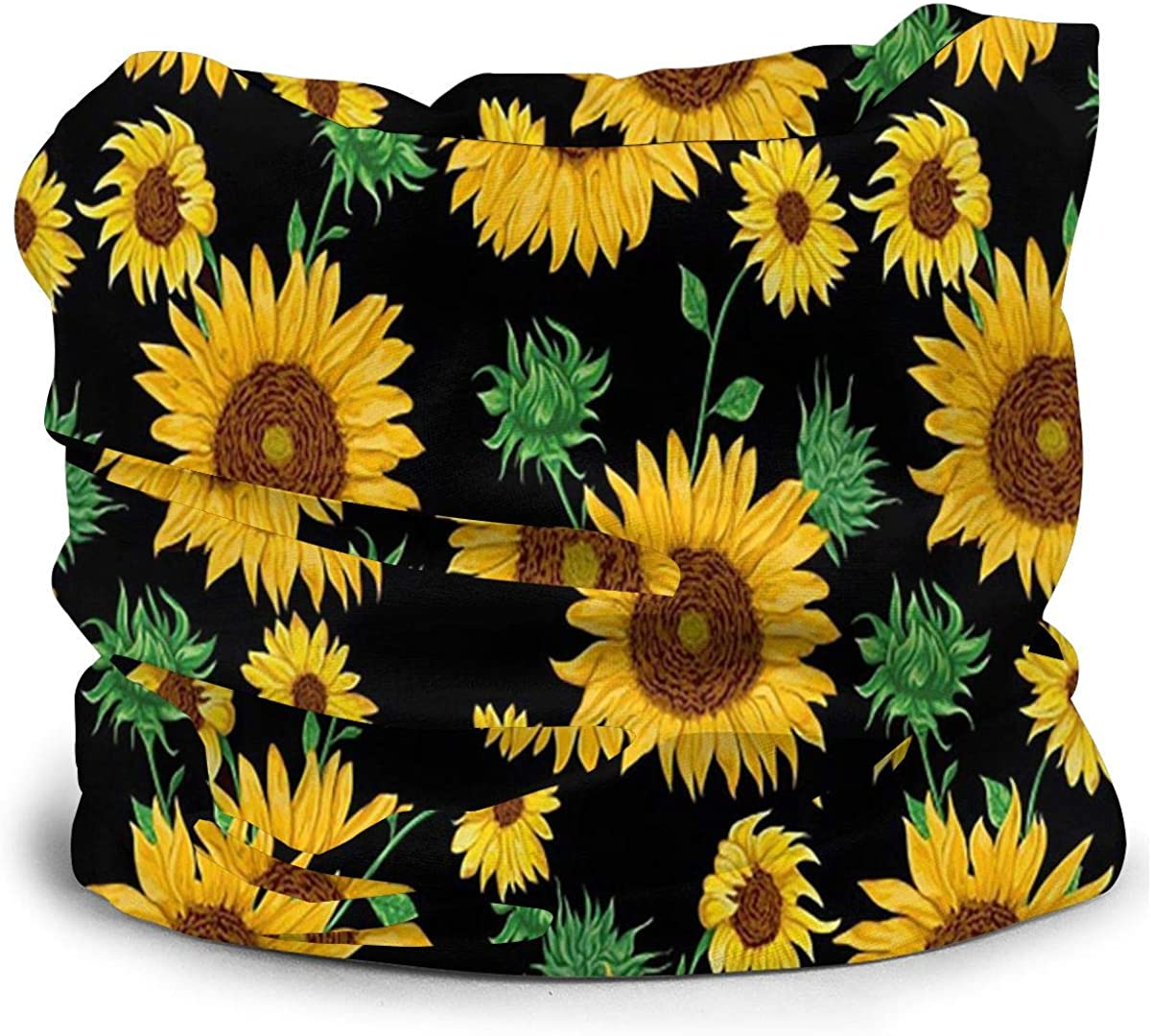 KiuLoam Sunflowers with Leaves on Black Seamless Face Mask Bandanas Neck Gaiter for Men and Women, Multifunction Headband Scarf for Dust, Outdoors, Sports