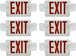 Ainfox 6 Pack LED Exit Sign Emergency Wall Light, UL Listed- LED Combo Emergency EXIT Sign with 2 Head Lights and Back -up Letter Cover (red/6pack)