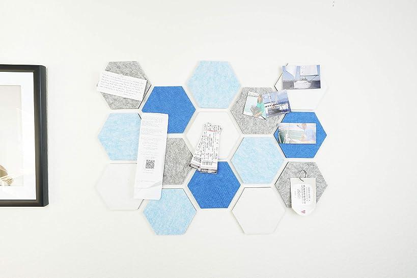 Hexagon Pad Cork Board/Pin Board, Cool Blue - 24