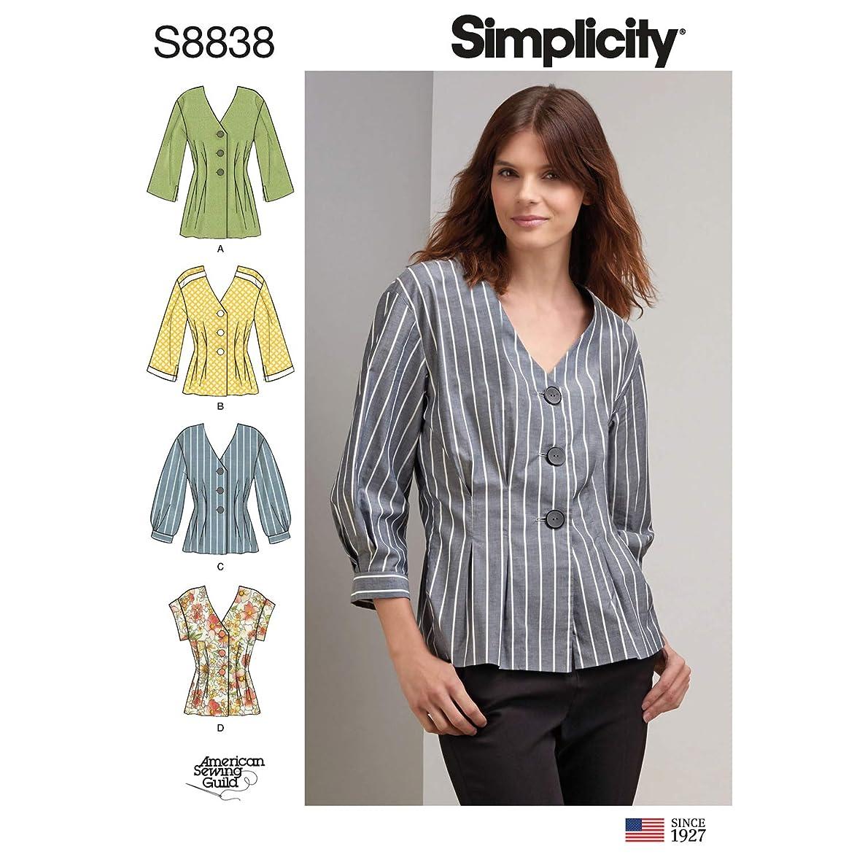 Simplicity US8838H5 Pattern S8838 Miss Petite Shirt, H5 (6-8-10-12-14)