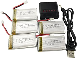 Fytoo 5Pcs 3.7V 1200mah Upgrade Li-Polymer Battery and 5in1 Batteries Charger for SYMA X5SW X5SC X5SC-1 RC Quadcopter Drone Replacement Battery Spare Parts