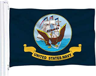 DFLIVE United States Navy Flag 3x5 ft Printed Polyester Fly Navy Flag Banner with Brass Grommets