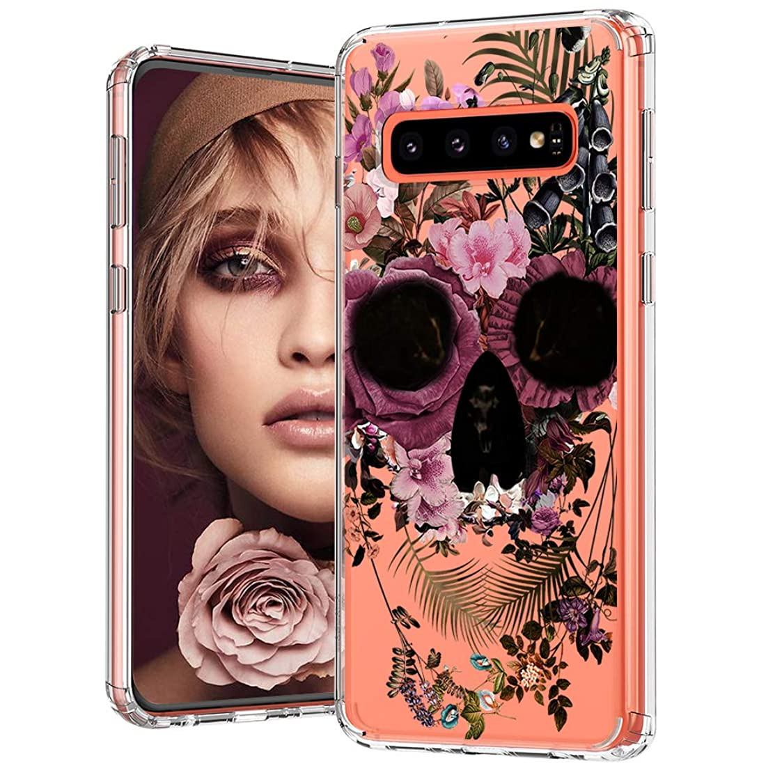 MOSNOVO Galaxy S10 Case, Floral Skull Flower Clear Design Printed Transparent Hard Back case with TPU Bumper Protective Case Cover for Samsung Galaxy S10