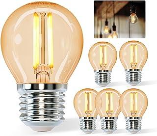 Aigostar Vintage Bombilla LED E27,4W Equivalente a 37W, Luz Cálida 2200K,420lm, G45 Bombilla Filamento Led,No Regulable,5 ...