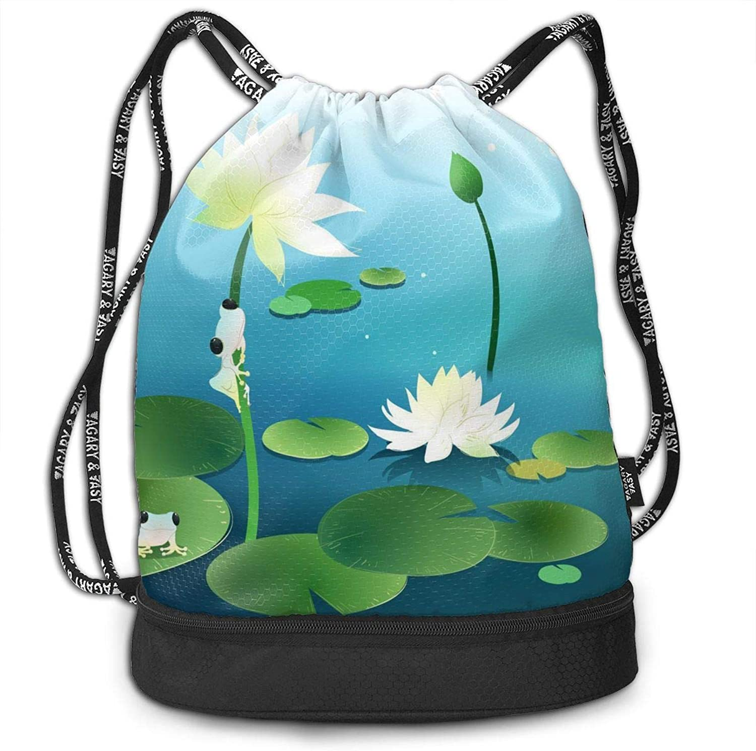 39290d2ef6136 Gymsack Small Frogs On Lotus Print Drawstring Bags Hiking Sack ...