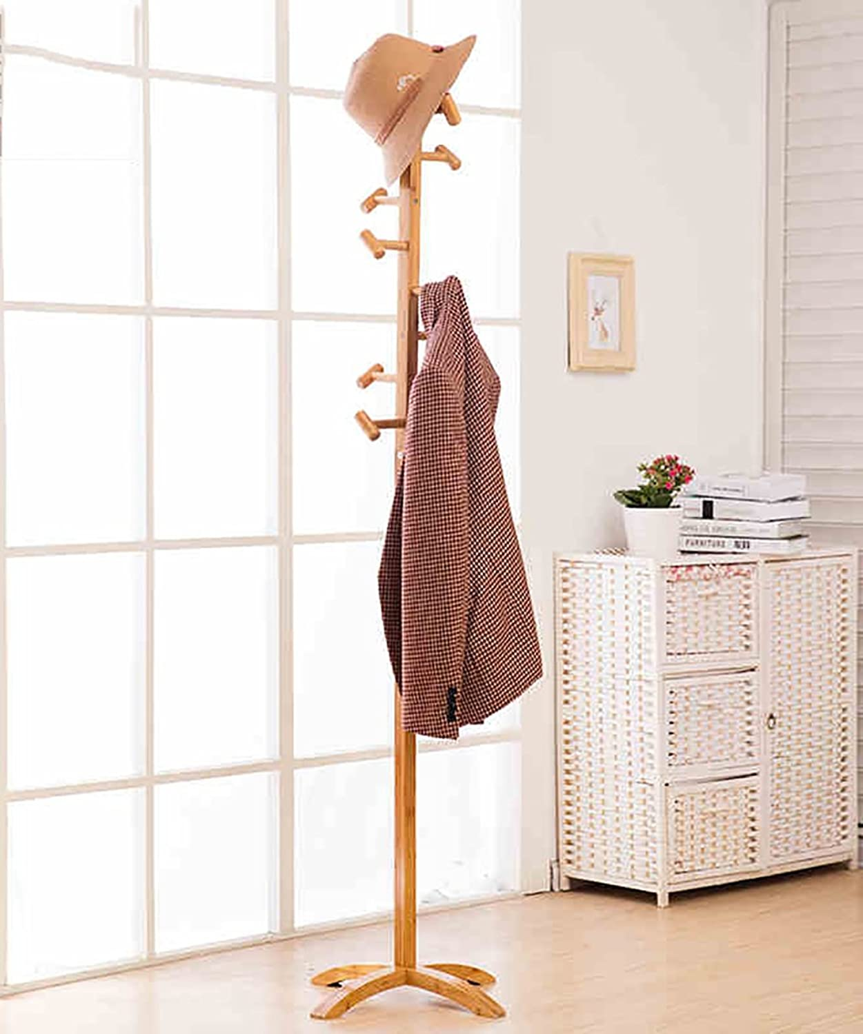 KKCF European Modern Simple Living Room Bedroom Hanger Solid Bamboo Floor Coat Racks (Size   B)